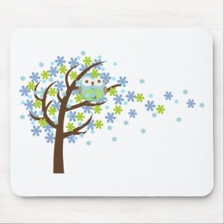 Blue Windy Tree Owl Mouse Pad