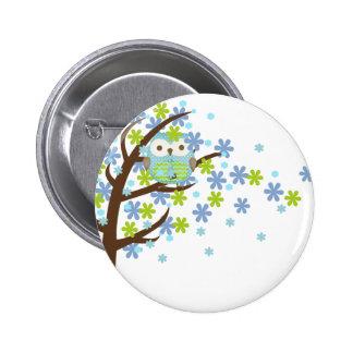 Blue Windy Tree Owl Pinback Button