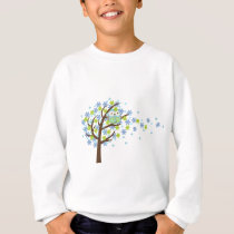 Blue Windy Tree Owl Sweatshirt