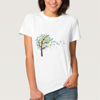 Blue Windy Tree Owl T-shirts