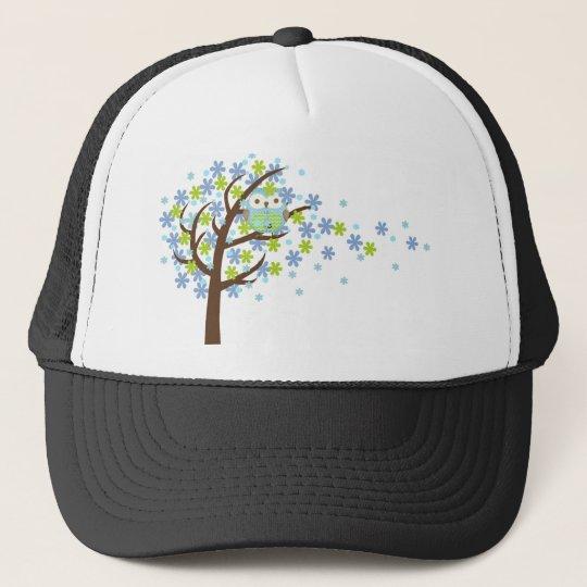 Blue Windy Tree Owl Trucker Hat