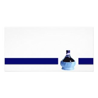 Blue Wine Bottle Photo Card