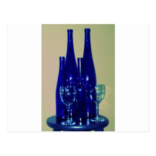 Blue Wine Bottles, accented Post Card