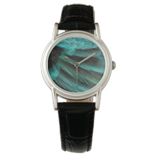 Blue Wing Covert feathers Wristwatches