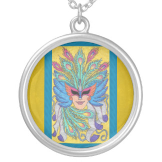 Blue Wing Mardi Gras Mask Necklace