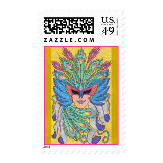Blue Wing Mardi Gras Mask Postage