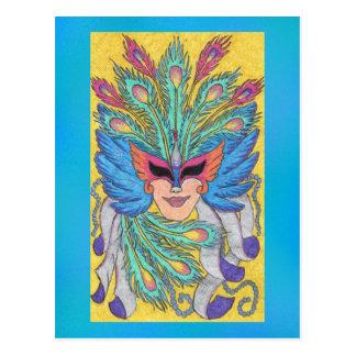 Blue Wing Mardi Gras Mask Postcard