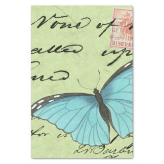 "Blue-Winged Butterfly on Teal Postcard 10"" X 15"" Tissue Paper"