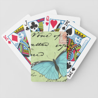 Blue-Winged Butterfly on Teal Postcard Bicycle Playing Cards
