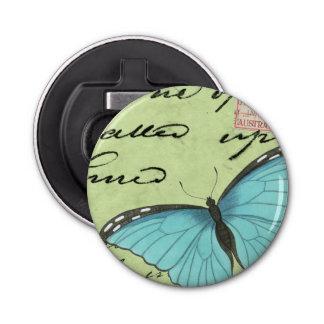 Blue-Winged Butterfly on Teal Postcard Bottle Opener