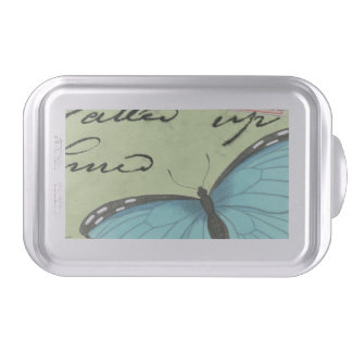 Blue-Winged Butterfly on Teal Postcard Cake Pan