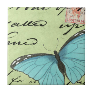 Blue-Winged Butterfly on Teal Postcard Ceramic Tile