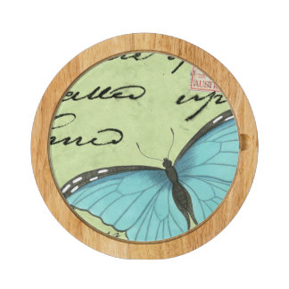 Blue-Winged Butterfly on Teal Postcard Cheese Platter