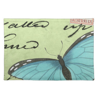 Blue-Winged Butterfly on Teal Postcard Cloth Placemat