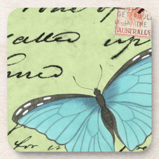 Blue-Winged Butterfly on Teal Postcard Coaster