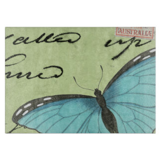 Blue-Winged Butterfly on Teal Postcard Cutting Board