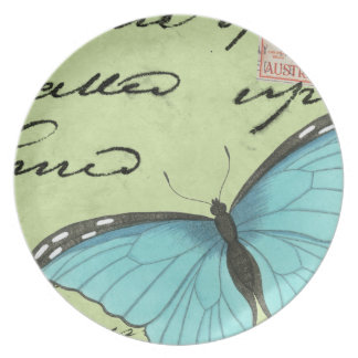 Blue-Winged Butterfly on Teal Postcard Dinner Plate