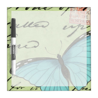 Blue-Winged Butterfly on Teal Postcard Dry Erase Board