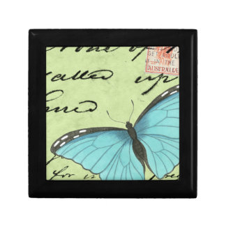 Blue-Winged Butterfly on Teal Postcard Gift Box