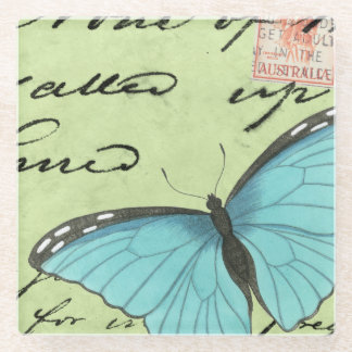 Blue-Winged Butterfly on Teal Postcard Glass Coaster