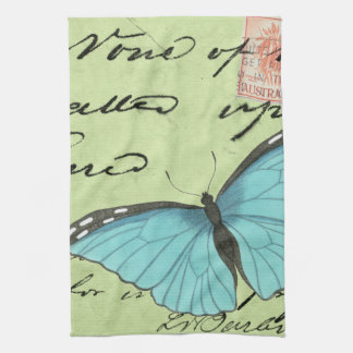 Blue-Winged Butterfly on Teal Postcard Hand Towel
