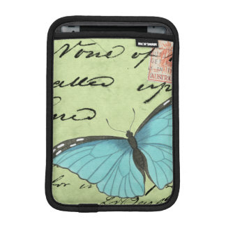 Blue-Winged Butterfly on Teal Postcard Sleeve For iPad Mini