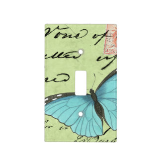 Blue-Winged Butterfly on Teal Postcard Light Switch Cover