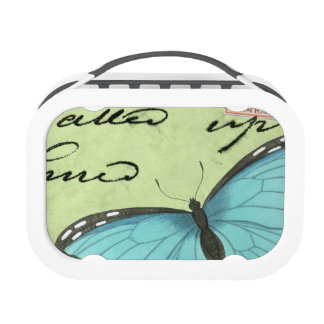 Blue-Winged Butterfly on Teal Postcard Lunch Box