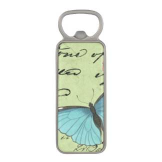 Blue-Winged Butterfly on Teal Postcard Magnetic Bottle Opener