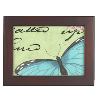 Blue-Winged Butterfly on Teal Postcard Memory Box