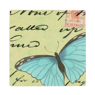 Blue-Winged Butterfly on Teal Postcard Maple Wood Coaster