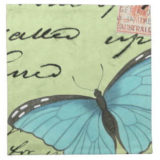 Blue-Winged Butterfly on Teal Postcard Napkin