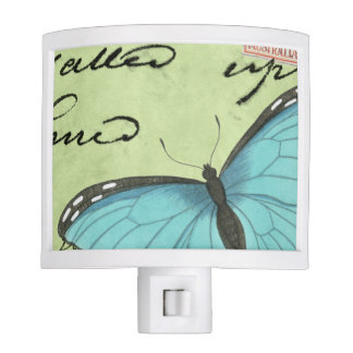 Blue-Winged Butterfly on Teal Postcard Night Light