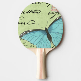 Blue-Winged Butterfly on Teal Postcard Ping-Pong Paddle