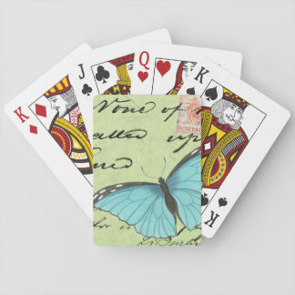 Blue-Winged Butterfly on Teal Postcard Playing Cards