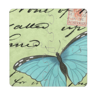 Blue-Winged Butterfly on Teal Postcard Puzzle Coaster