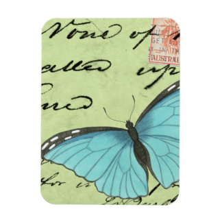 Blue-Winged Butterfly on Teal Postcard Rectangular Photo Magnet