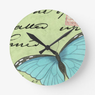 Blue-Winged Butterfly on Teal Postcard Round Clock