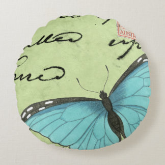 Blue-Winged Butterfly on Teal Postcard Round Pillow