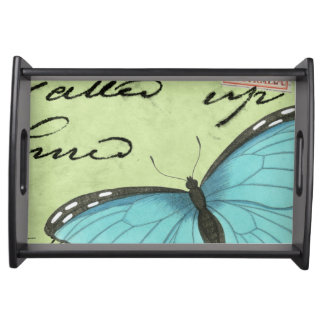 Blue-Winged Butterfly on Teal Postcard Serving Tray