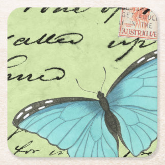 Blue-Winged Butterfly on Teal Postcard Square Paper Coaster