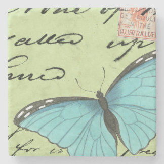 Blue-Winged Butterfly on Teal Postcard Stone Coaster