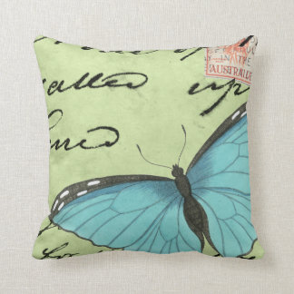 Blue-Winged Butterfly on Teal Postcard Throw Pillow