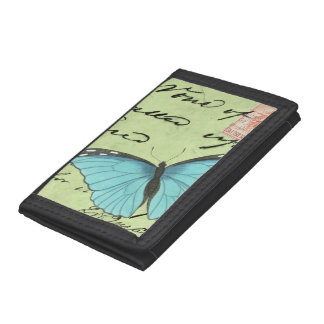 Blue-Winged Butterfly on Teal Postcard Tri-fold Wallet