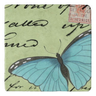 Blue-Winged Butterfly on Teal Postcard Trivet