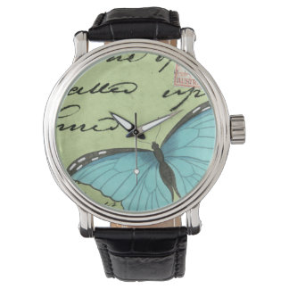 Blue-Winged Butterfly on Teal Postcard Wristwatch