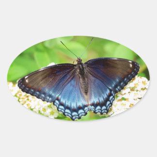 Blue Winged - Butterfly Oval Sticker
