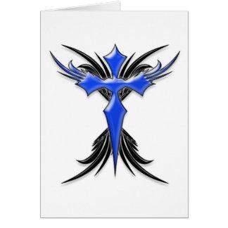 Blue Winged Cross Card