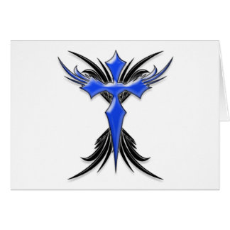 Blue Winged Cross Greeting Card