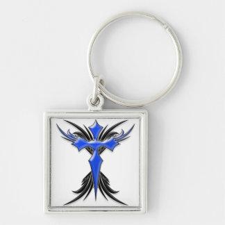 Blue Winged Cross Keychain